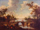 figures on a bridge outside a village